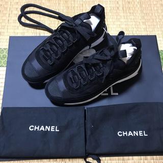 CHANEL - 大人気 正規品 入手困難 シャネルスニーカー スエード ブラック 37