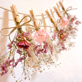 ドライフラワー スワッグ ガーランド ミニバラ 紫陽花 スターチス かすみ草