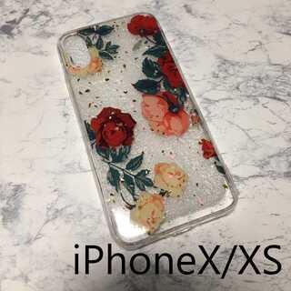 花柄 iPhone ケース iPhoneカバー 透明 クリア レッド X/XS(iPhoneケース)