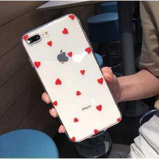ドット柄 iPhone ケース カバー透明 クリア レッドハート X/XS(iPhoneケース)