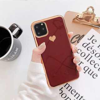 iPhoneケース カバー ゴールドフレーム レッド X/XS(iPhoneケース)
