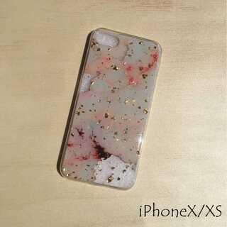 大理石 金箔 iPhone ケース iPhoneカバー ホワイト X/XS(iPhoneケース)