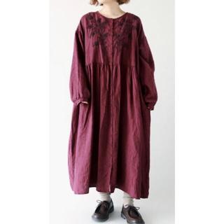 SM2 - 【新品】タグ付★35th【Slowlinen】刺繍ワンピース リネン100%