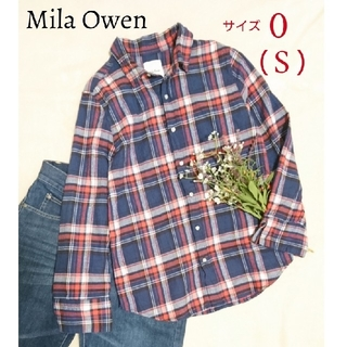 Mila Owen - MilaOwen ミラオーウェン ネルシャツ 秋服 チェックシャツ ネイビー S