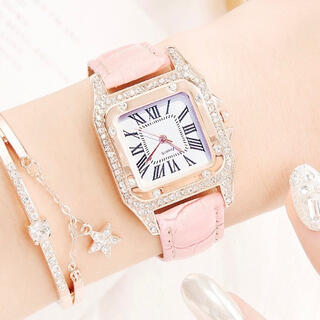 腕時計 レディース アナログ ピンク ブレスレット付き(腕時計)