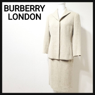 バーバリー(BURBERRY)の【美品】バーバリーロンドン ツイード セットアップ スーツ スカート Mサイズ (スーツ)