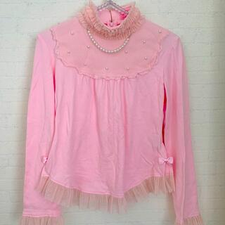 Angelic Pretty - アンジェリックプリティ チュール カットソー パール リボン ピンク