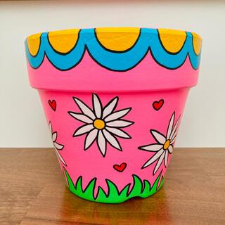 【4.5号】ハンドメイド 植木鉢 リメ鉢 レトロピンク花柄(プランター)