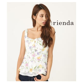 リエンダ(rienda)の【新品未使用★】rienda*フローフラワーペプラムトップス❤️サイズFREE(カットソー(半袖/袖なし))