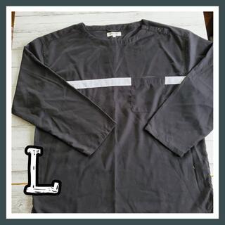 メンズ 長袖 肩ボタン L ブラック