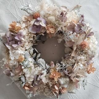 ドライフラワー ホワイト系紫陽花のリース