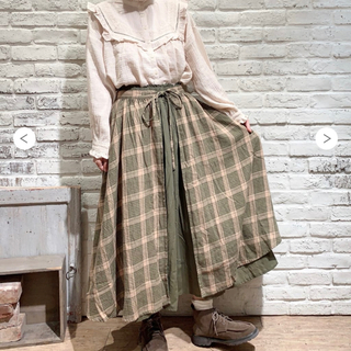 SM2 - 【新品タグ付き】SM2 チェックギャザースカート カーキ
