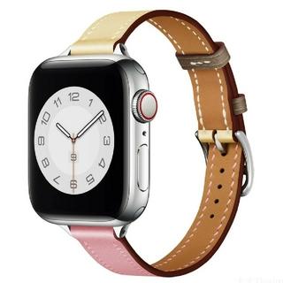 Apple Watch レザーバンド スリム38/40mm ホワイトピンク(腕時計)