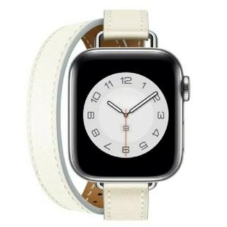 Apple Watch レザー 二重巻スリム 38/40mm ホワイト(腕時計)