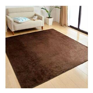 フランネルラグ 200×250cm 約3畳 洗える 滑り止め付 ラグ ブラウン