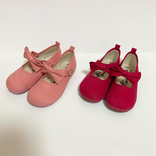 Shirley Temple - シャーリーテンプル リボン キャンバス シューズ 赤 ピンク 16 セット