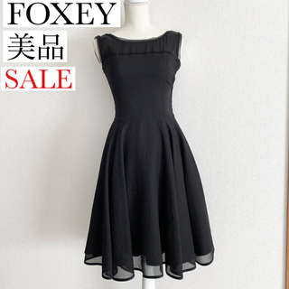 FOXEY - 美品 フォクシー シフォンデザイン ブラックワンピース