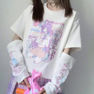 病みかわいい 女の子 半袖 Tシャツ 白 量産型 地雷系 ゴスロリ メンヘラ