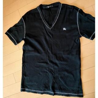 BURBERRY BLACK LABEL - バーバリーブルーレーベル メンズ 半袖 リブ 黒 夏服 サイズ2(M)