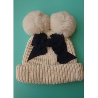 カシラ(CA4LA)の美品 CA4LA ニット帽 ラビットファー ポンポン付き(ニット帽/ビーニー)