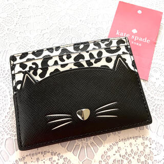 kate spade new york - ケイト・スペード カードケース 新品 レザー ブランド 正規品 キャット猫 黒