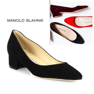 マノロブラニク(MANOLO BLAHNIK)の【美品】37.5 リストニー manolo blahnik 黒 スエード(ハイヒール/パンプス)