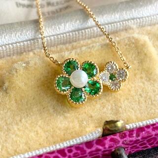 アコヤ真珠 天然グリーンガーネット 天然ダイヤモンド 18金ネックレス ミル打ち