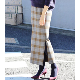 IENA - IENA ウールチェックタイトスカート