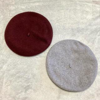 ユニクロ(UNIQLO)のUNIQLO💜ベレー帽2点セット(ハンチング/ベレー帽)