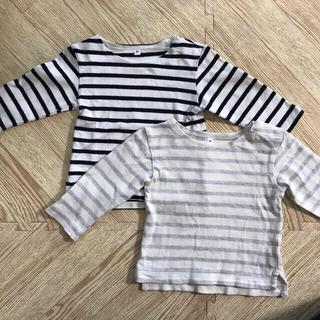 MUJI (無印良品) - 無印良品 80 ベビー 太番手ボーダー長袖Tシャツ 2枚セット