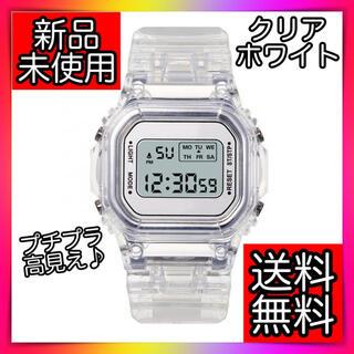 デジタル腕時計 韓国クリアホワイト白スケルトン 透明ウォッチシースルーオルチャン