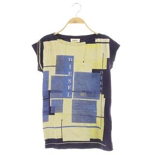ディーゼル(DIESEL)のディーゼル DIESEL ロゴ カットソー フレンチスリーブ XS 紫 黄色 青(カットソー(半袖/袖なし))