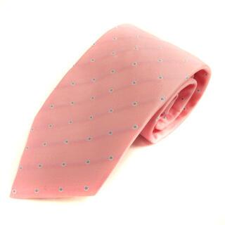 ルイジボレッリ(LUIGI BORRELLI)のルイジボレッリ ネクタイ レギュラータイ 水玉柄 ドット柄 絹 ピンク 水色(ネクタイ)