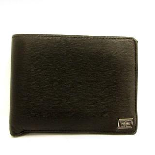 ポーター(PORTER)のポーター 吉田カバン カレント 二つ折り財布 財布 小銭入れ レザー 黒(折り財布)