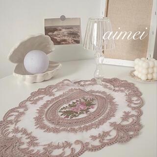 Francfranc - フラワー刺繍レース テーブルマット A  ローラアシュレイ アンティーク イケア