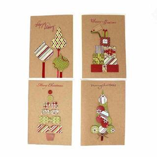 高品質 ハンドメイド デコレーション クリスマスカード 4種 //b13(その他)