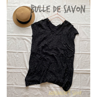 ビュルデサボン(bulle de savon)のbulle de savon 星座柄ワンピース チュニック ドット 襟フリル(ひざ丈ワンピース)