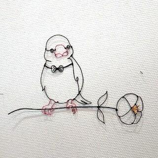 文鳥と花  ワイヤーアートで壁掛けに☆壁にちょこんと可愛い(鳥)