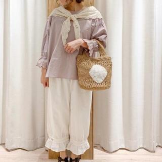 SM2 - Samansa Mos2・35th*SA刺繍*裾フリルペチパンツ*ホワイト