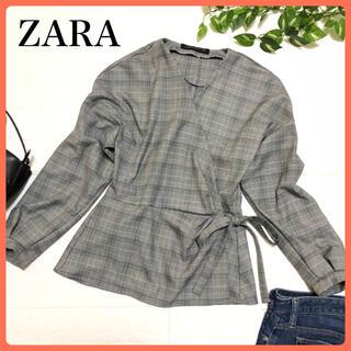 ZARA - 【可愛い⭐️ペプラム】ザラ ZARA 白黒緑チェック カシュクールリボンブラウス