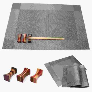 3組6点セット 北欧 ランチマット+箸置き シルバー //br0(テーブル用品)
