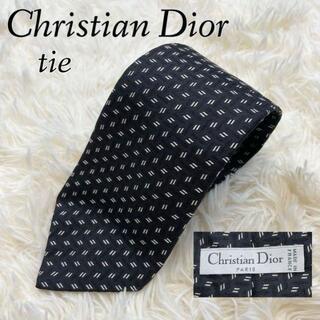 クリスチャンディオール(Christian Dior)の美品✨Christian Dior ネクタイ ブラック ロゴ シルク100%(ネクタイ)