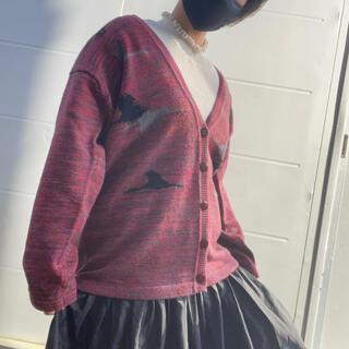 ロキエ(Lochie)の【古着】レトロ 鳥柄 モザイクdesing knit cardigan(カーディガン)