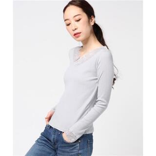 ミスティウーマン(mysty woman)のmysty woman レースVネックロングスリーブTシャツ(Tシャツ/カットソー(七分/長袖))