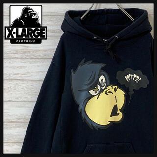 エクストララージ(XLARGE)の【ユニークデザイン】エクストララージ☆ ビッグロゴ フード 刺繍ロゴ パーカー(パーカー)