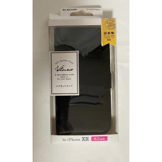 ELECOM - iPhone XR ケース 手帳型 レザー サイドマグネット スタンド ブラック