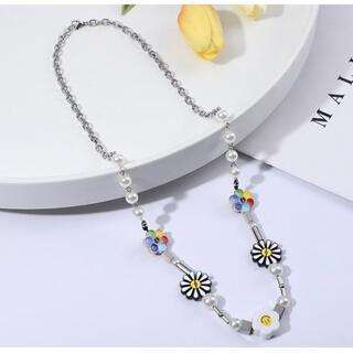 【人気】ニコちゃん スマイル ネックレス 韓国 パール 真珠 レディース メンズ