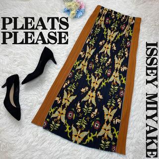 PLEATS PLEASE ISSEY MIYAKE - 極美品♡プリーツプリーズ バタフライ総柄プリント スカート イッセイミヤケ 蝶
