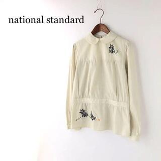 美品○ ナショナルスタンダード 猫刺繍ブラウス