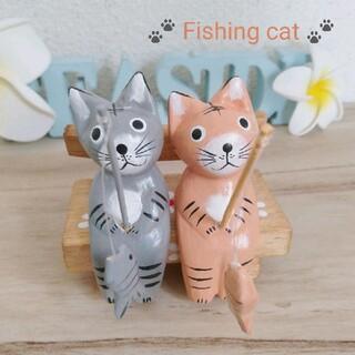 No.468 釣りキジトラ猫&サバトラ猫 木彫り背もたれベンチ アジアン雑貨